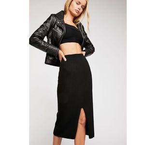 NWT Free People Skyline Midi Skirt Knit Black XS